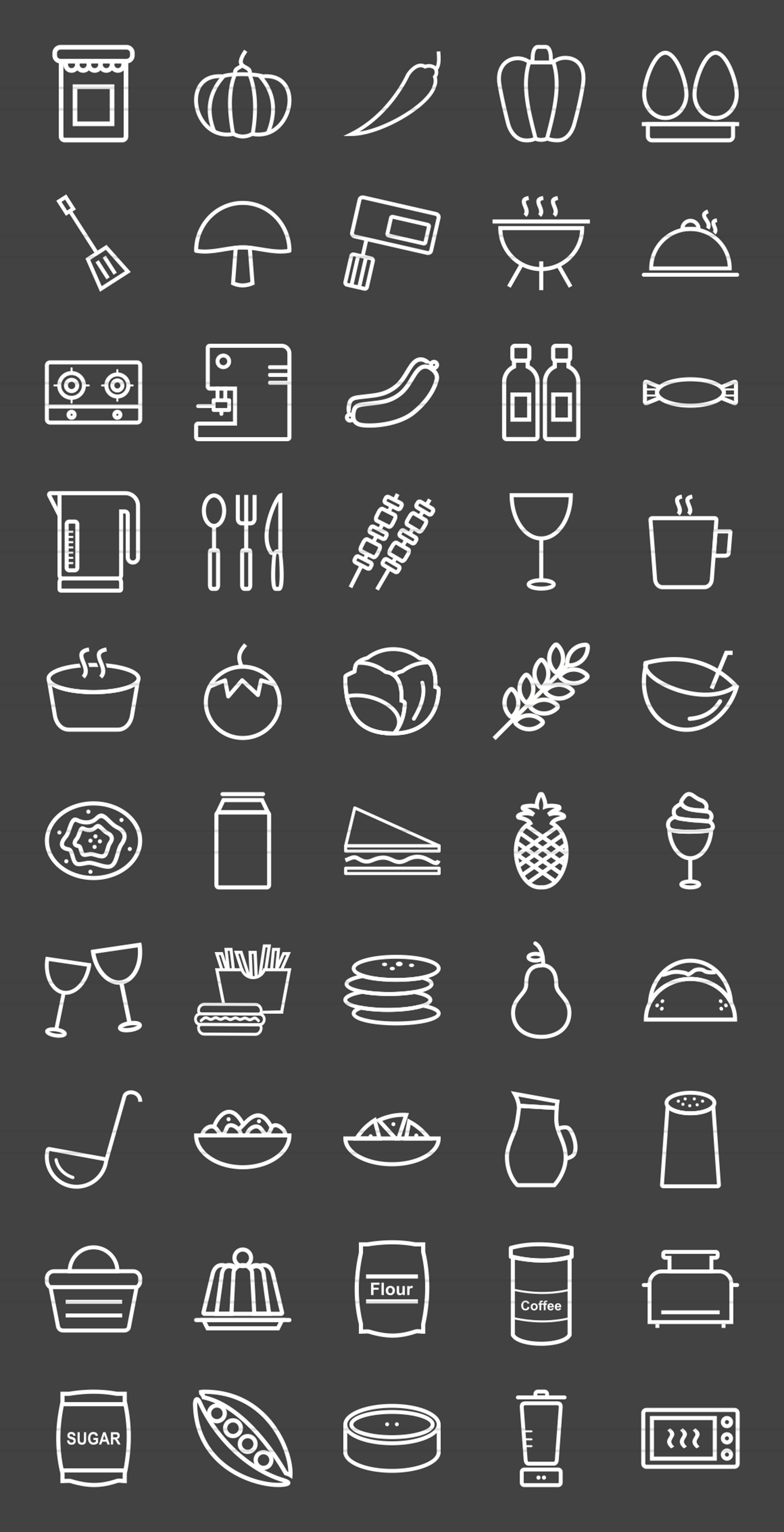 50 Food Line Inverted Icons example image 2