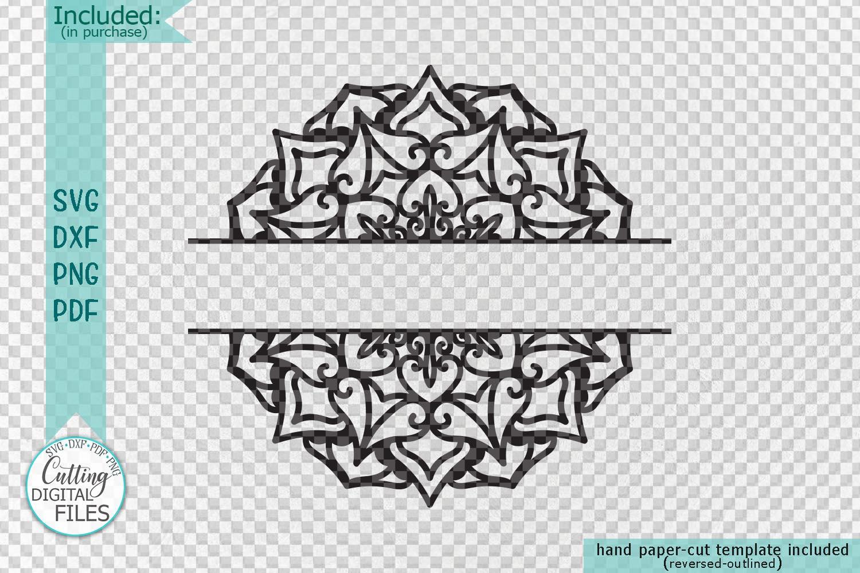 Mandala Monogram frame bundle split circle ribbon svg cut example image 6