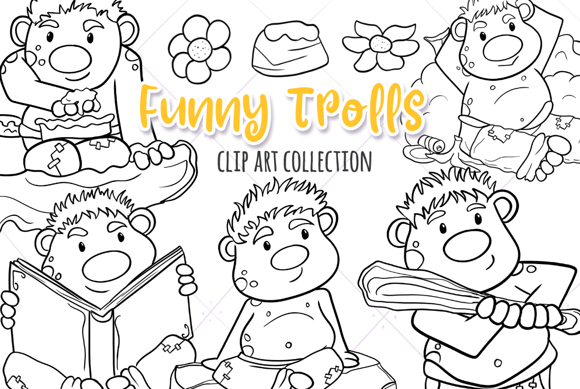 Funny Trolls Digital Stamps example image 1