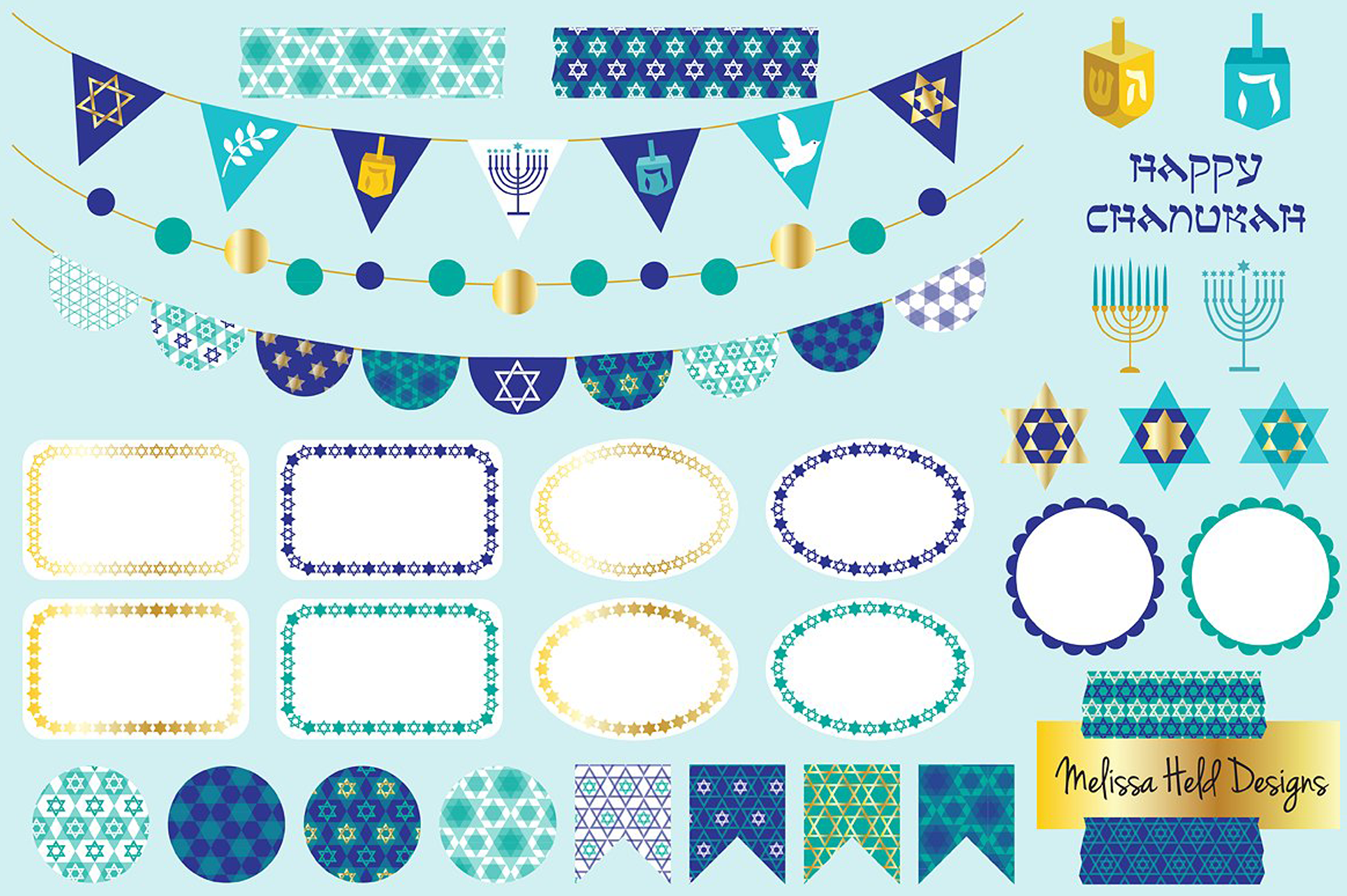Chanukah Bunting and Labels Clipart example image 1