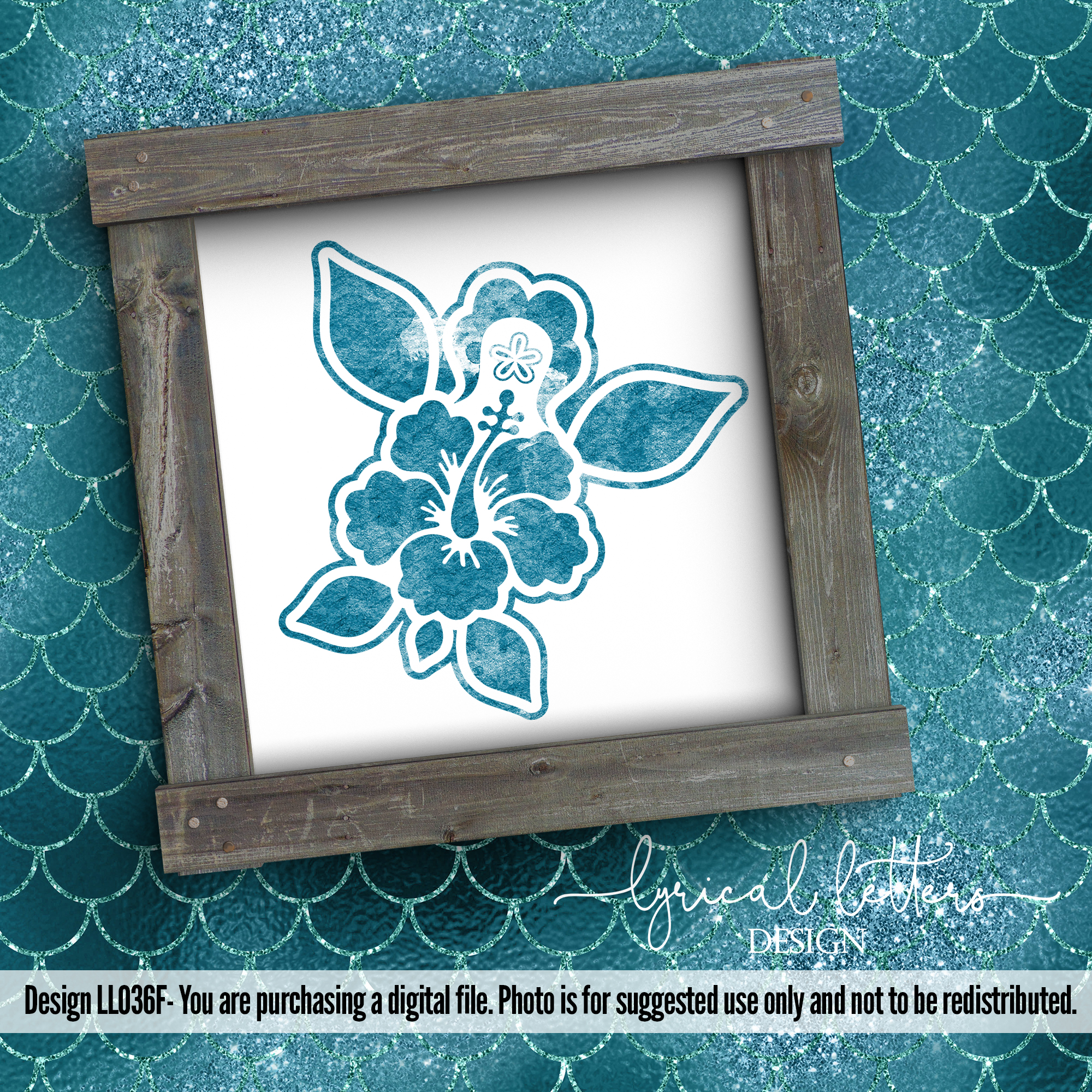 Hibiscus Sea Turtle Art LL036F SVG DXF FCM EPS AI JPG PNG example image 2