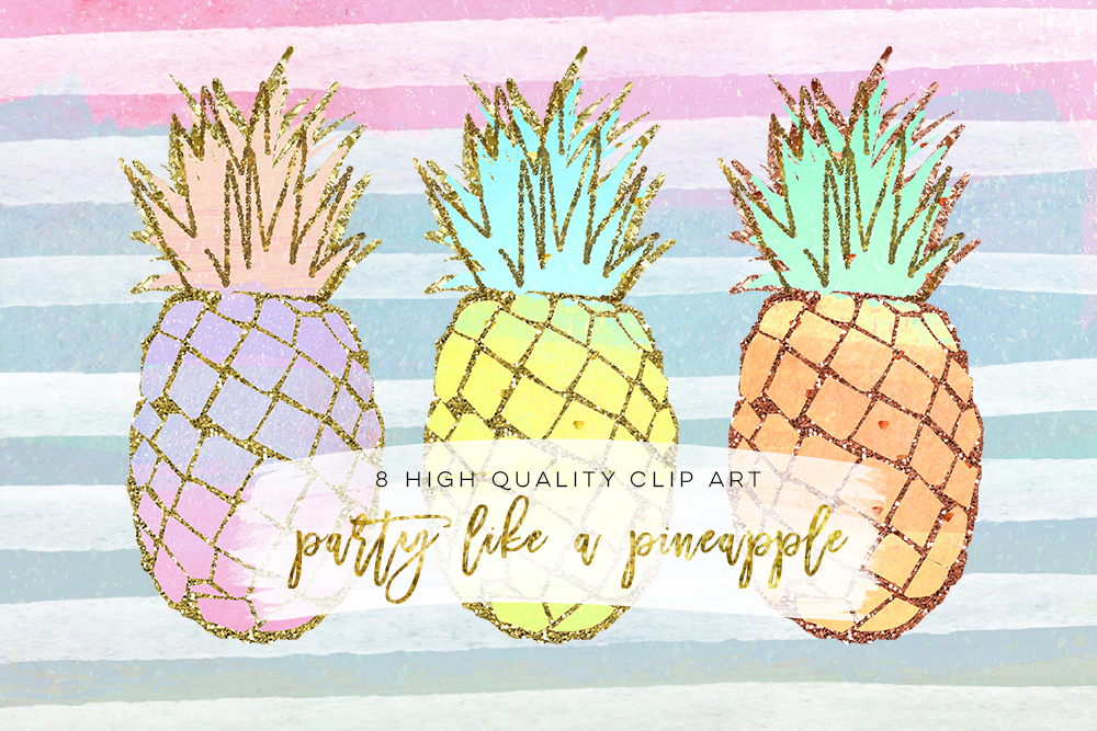 pineapple clip art, Gold Pineapples, gold pineapple clip art, Gold Texture Pineapples, Gold foil pineapples, Summer Clip Art, Tropical example image 3