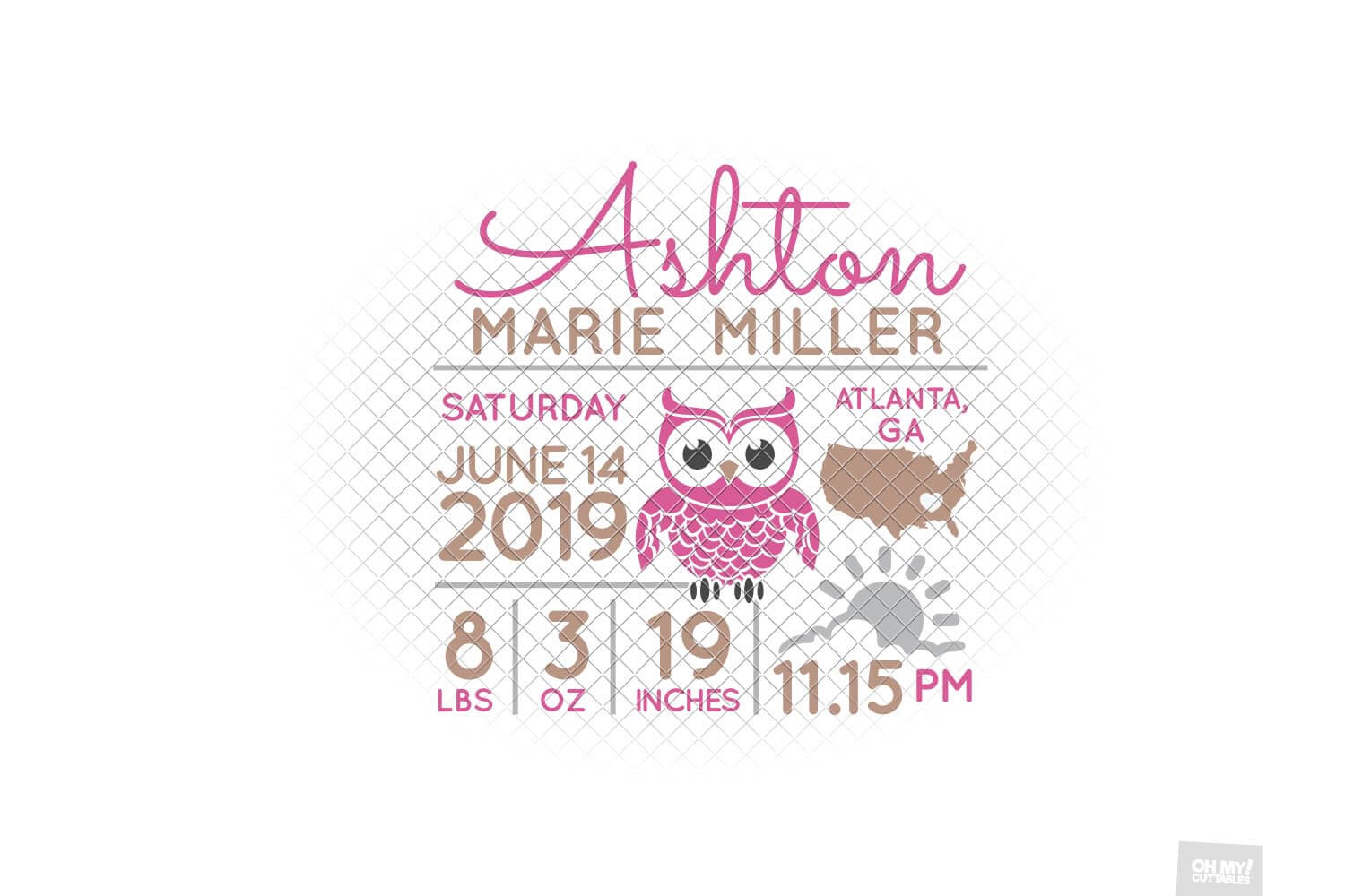Owl Birth Stats SVG Announcement Template in SVG, DXF, EPS example image 5