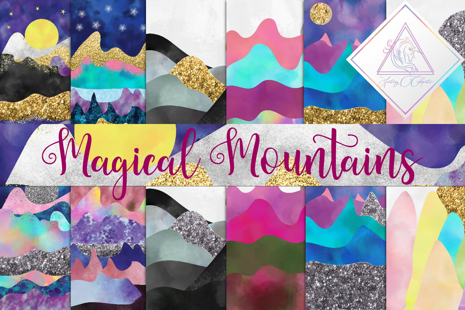 Magical Mountains Digital Paper example image 1