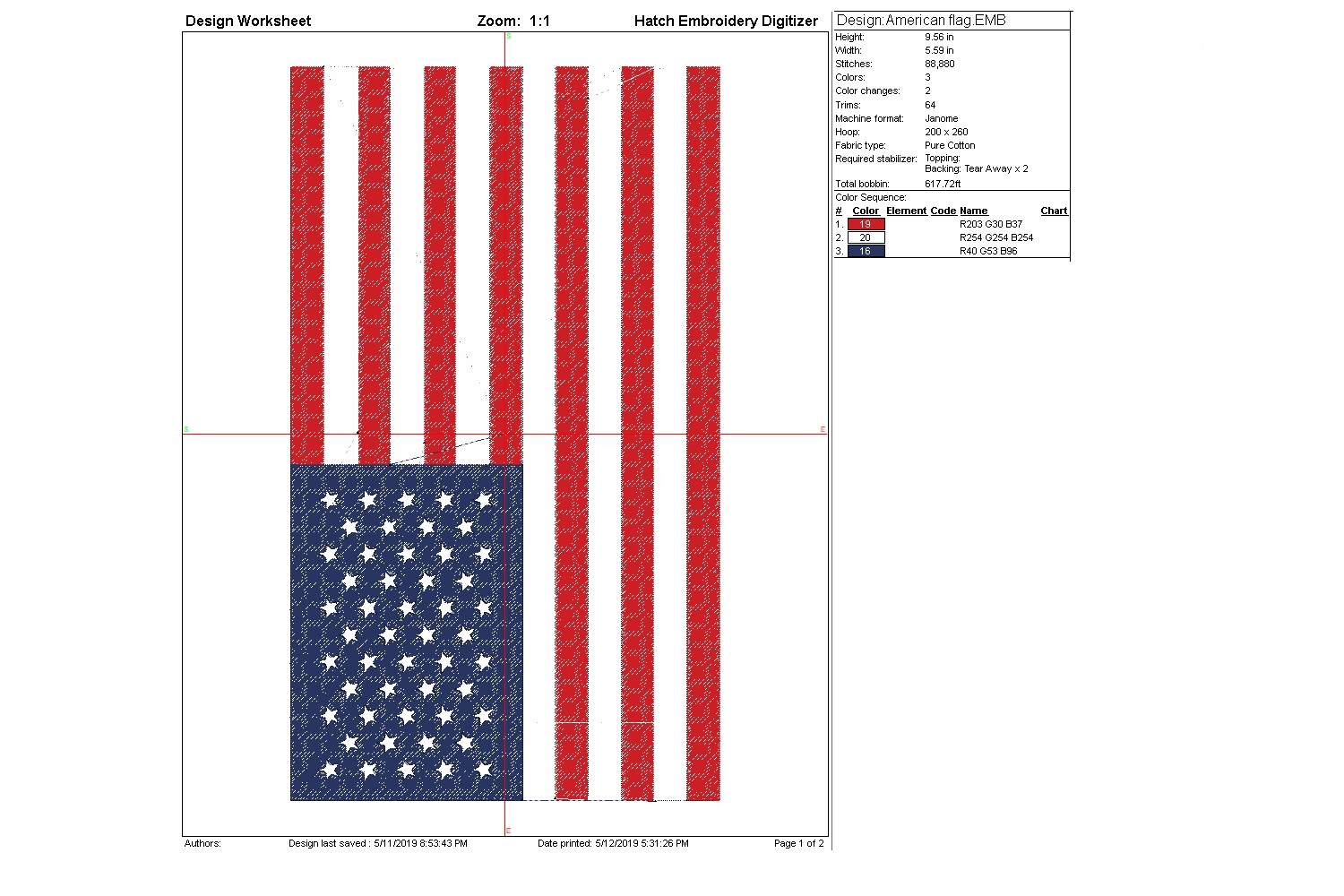 US Flag| Independence day | Machine embroidery| example image 5