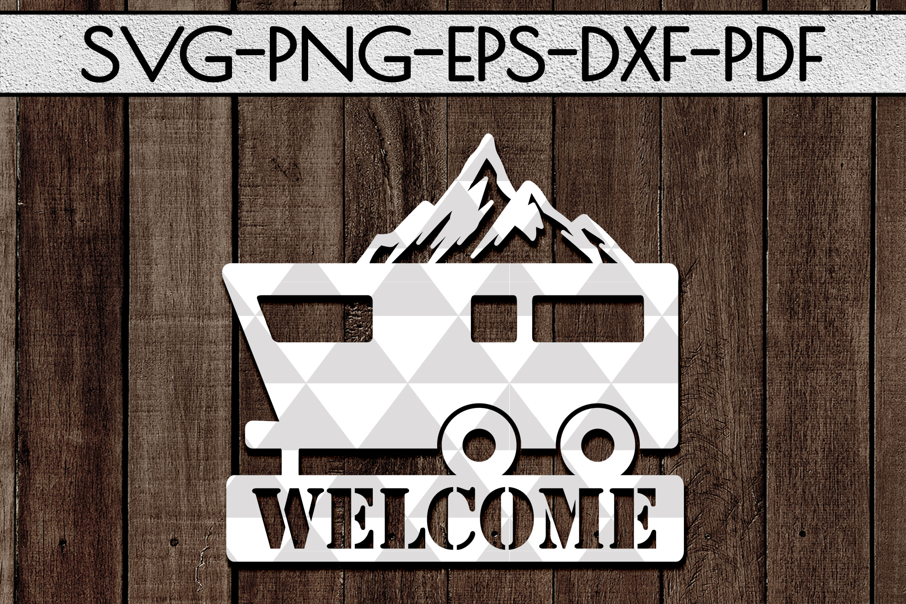 Welcome To Our Campsite Papercut Template, SVG, PDF, DXF example image 1