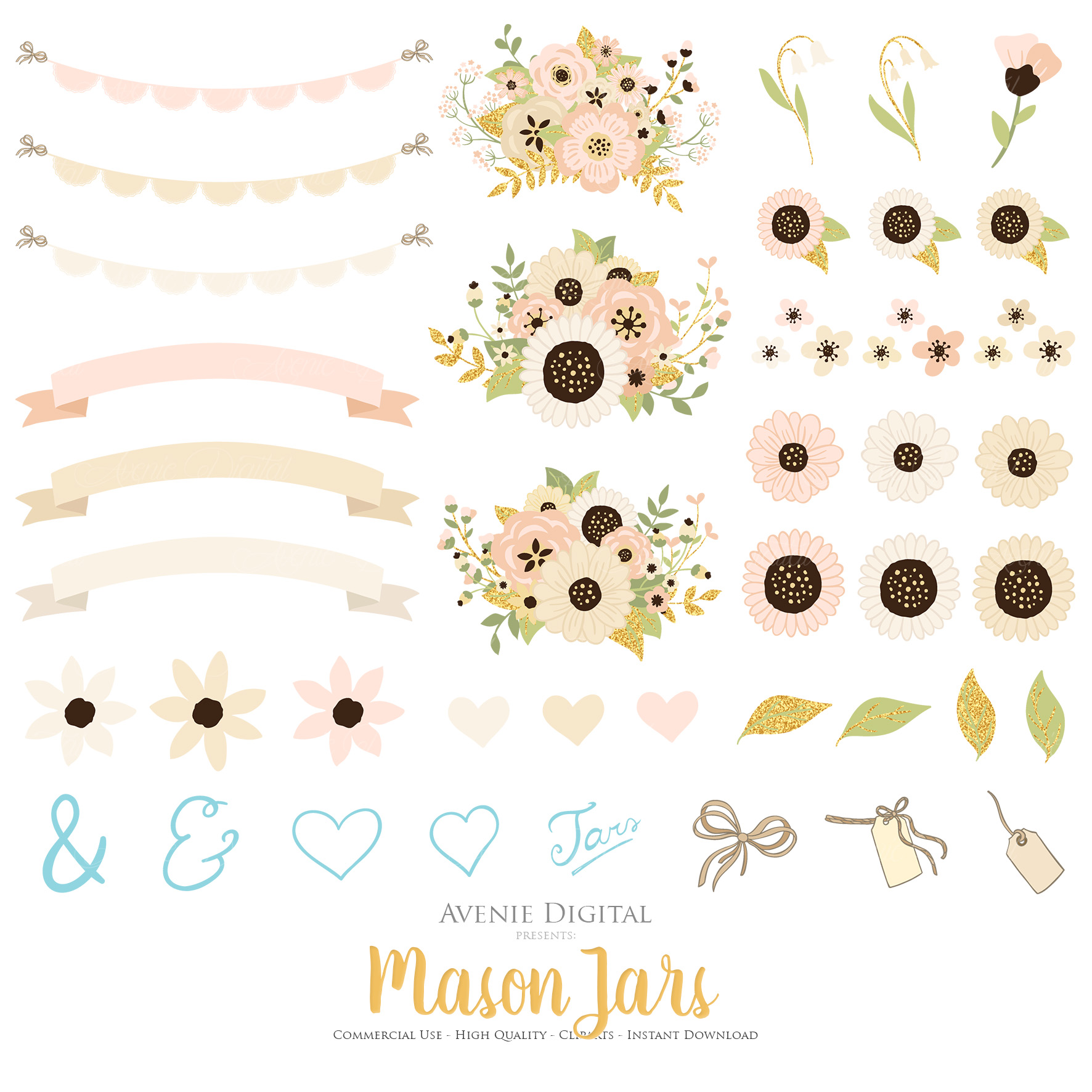 Ivory and Gold Mason Jar Floral Wedding Clipart example image 4