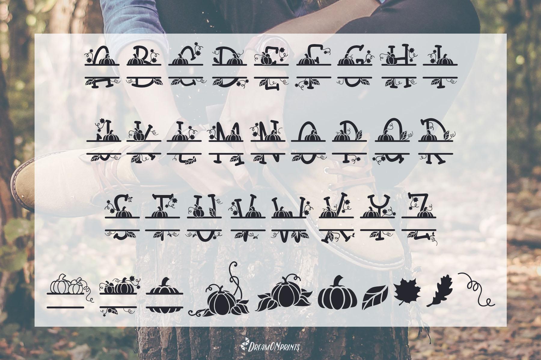 Fall Leaves - Split Monogram Font example image 2