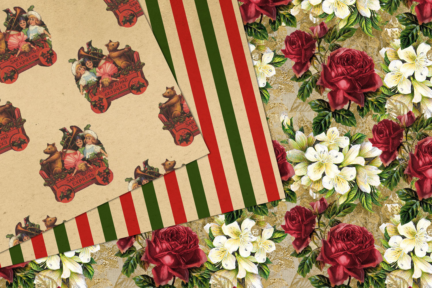 Antique Christmas Digital Paper example image 2