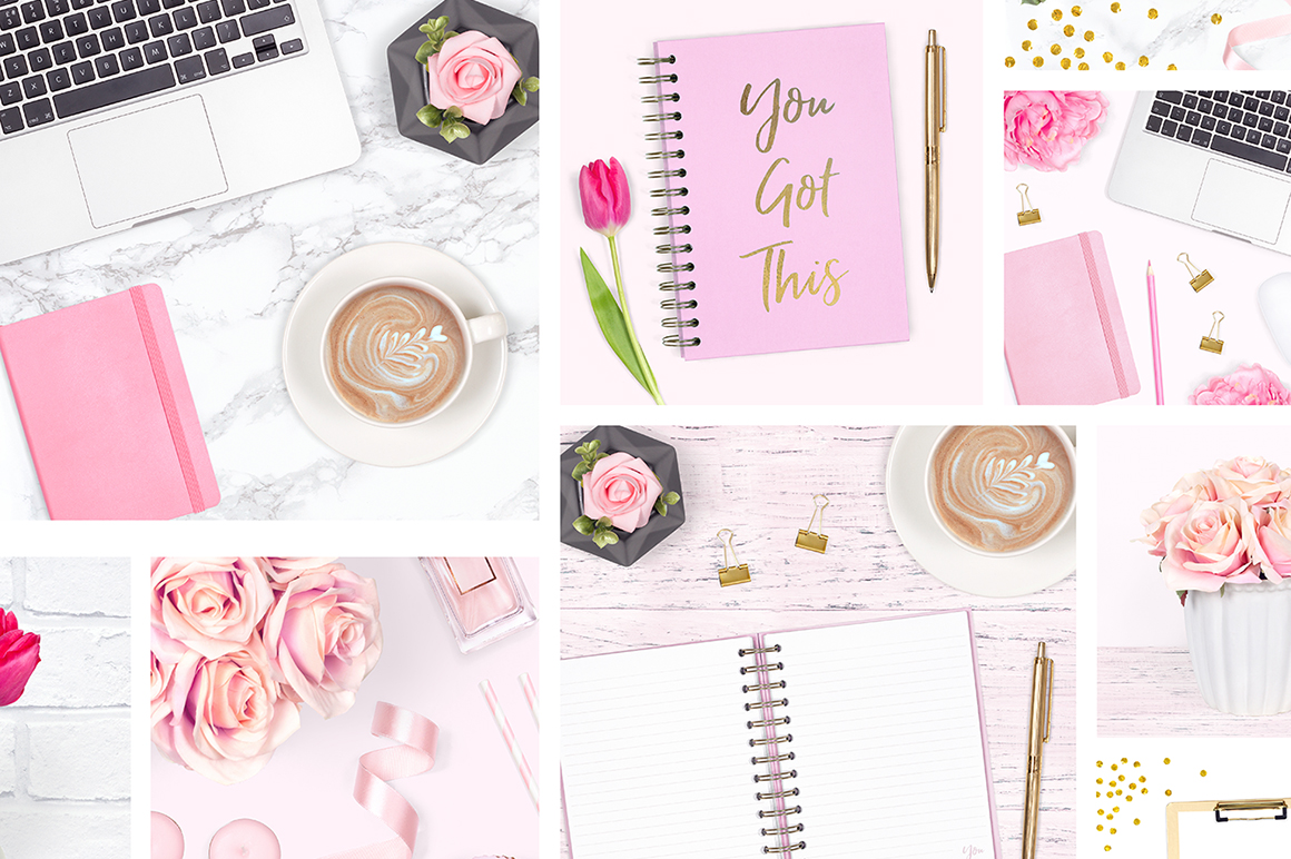 Feminine Desk Styled Stock Photo Bundle example image 3