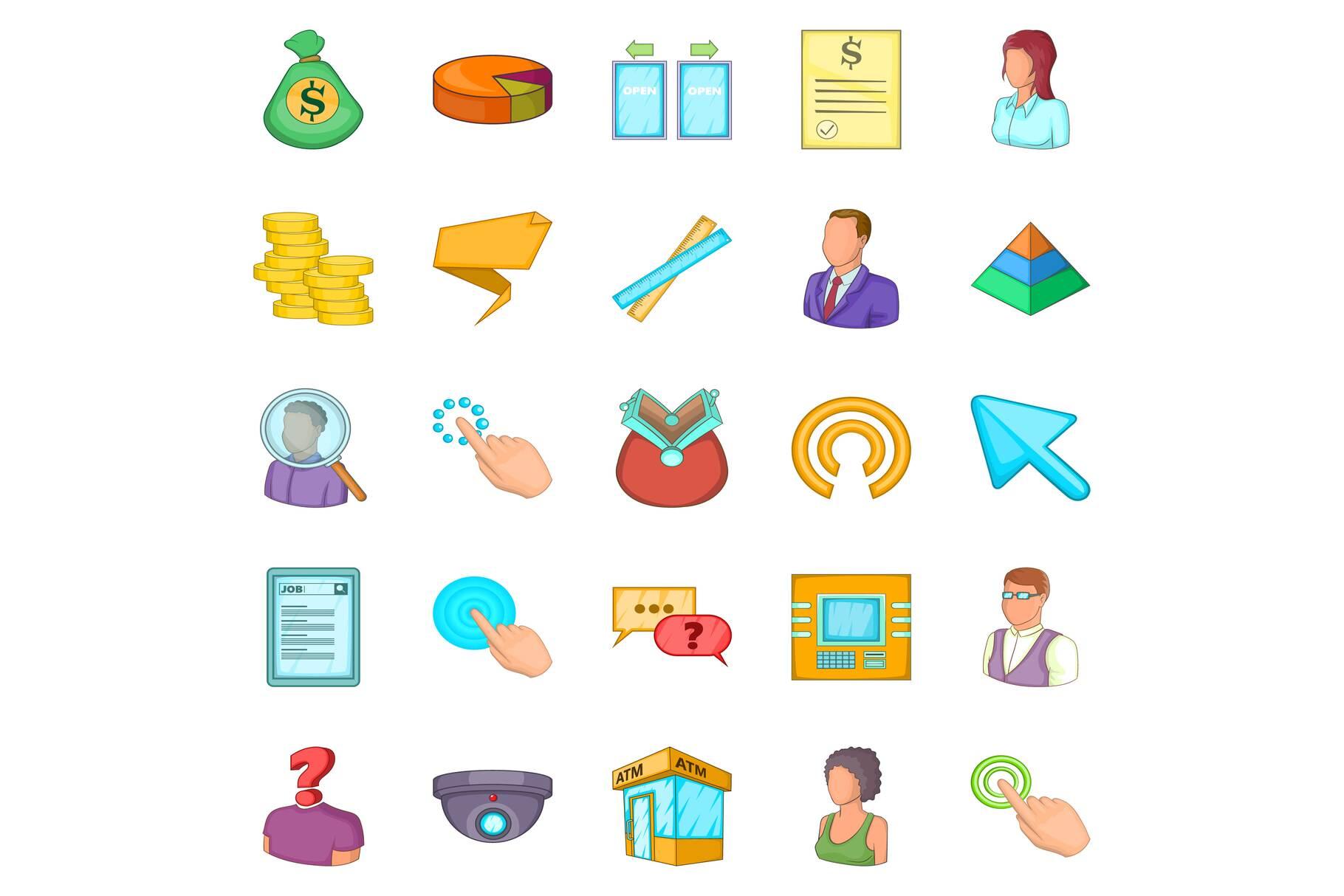 Salary icons set, cartoon style example image 1