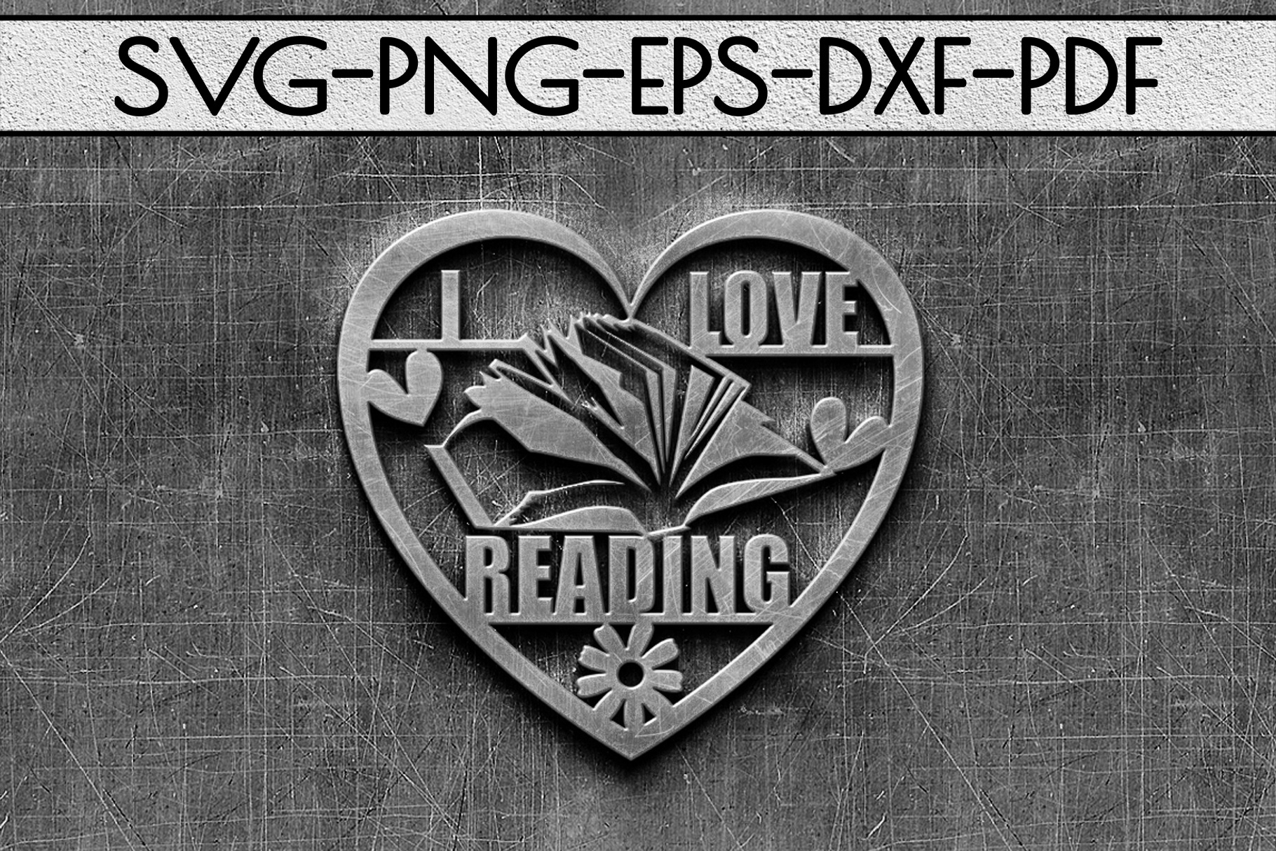 I Love Reading Papercut Template, Bookworm Cut Files, SVG example image 2