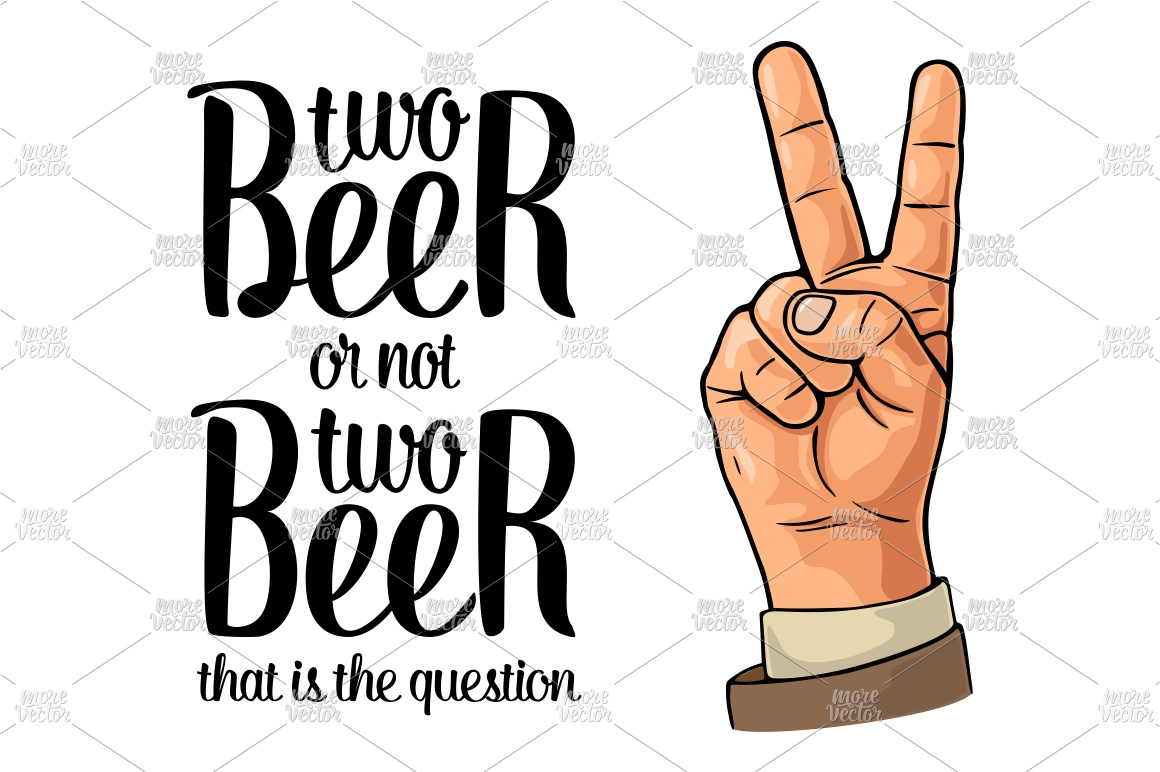 Two beer or not two beer. Vintage vector engraving example image 2