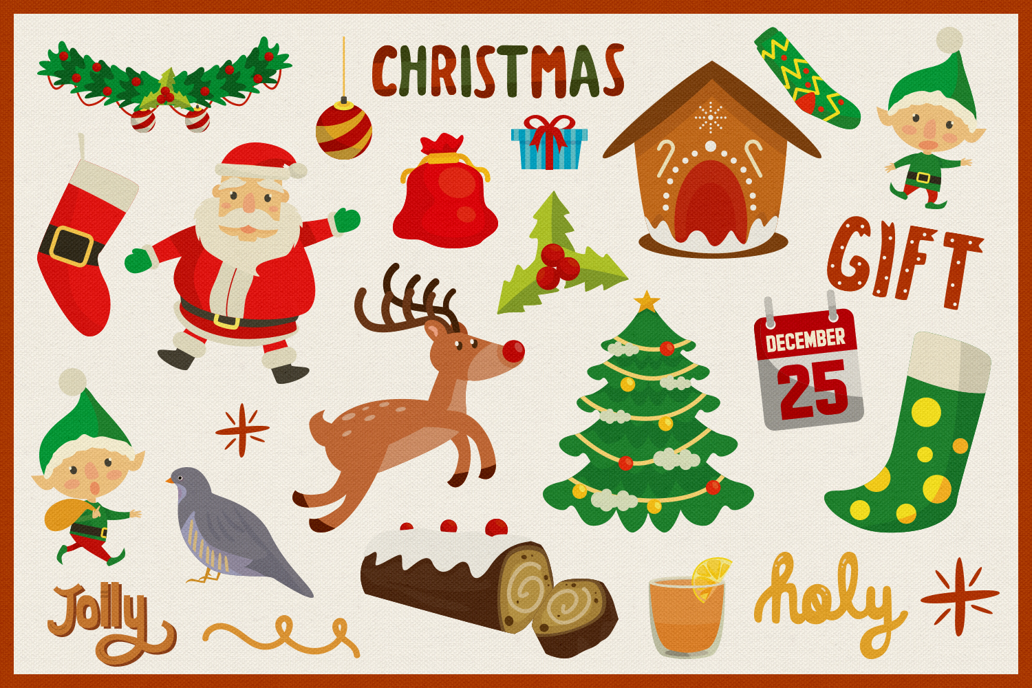 Holy Christmas Vector Clipart and Seamless Pattern example image 3
