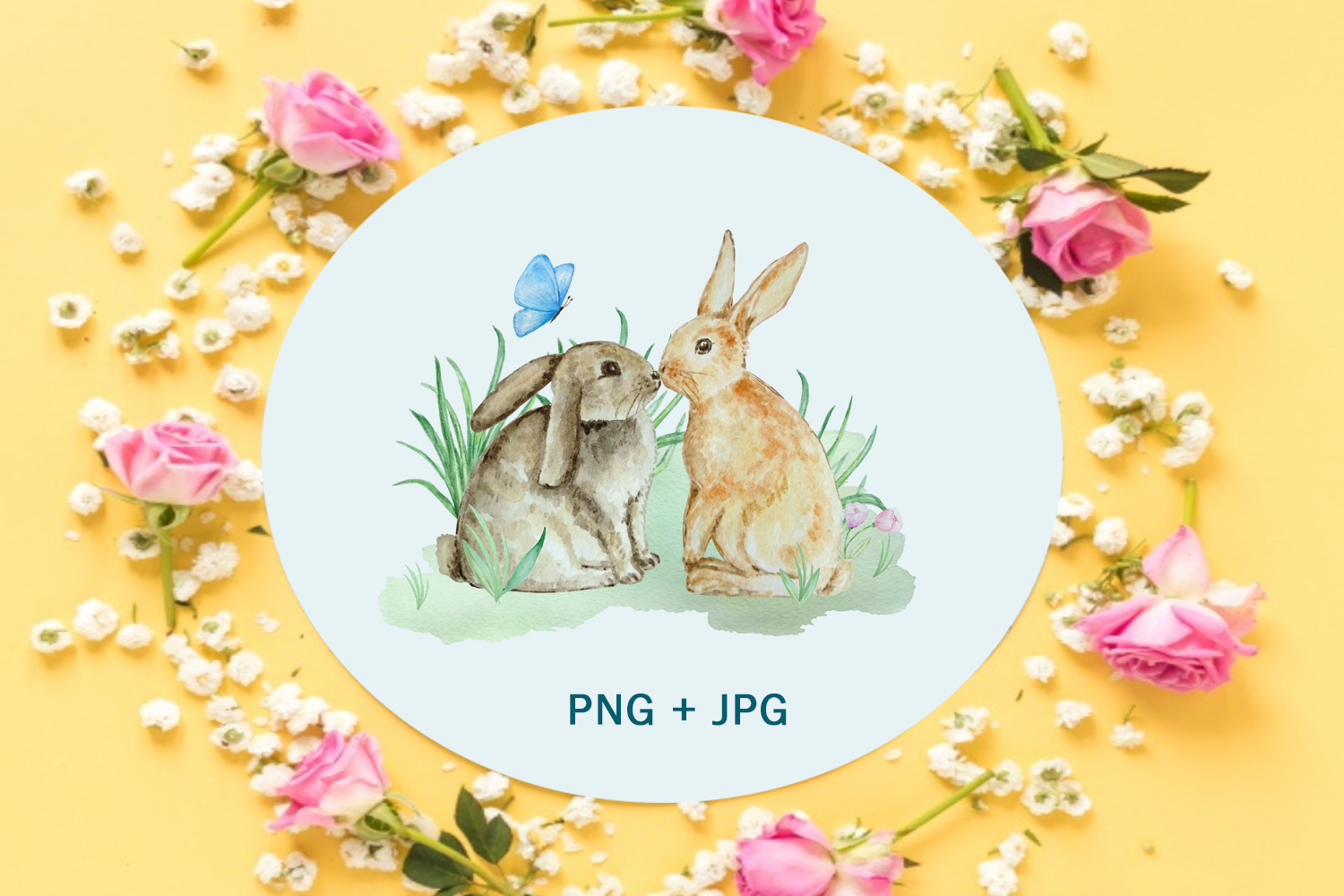 Watercolor Spring Rabbit Clipart Set example image 7