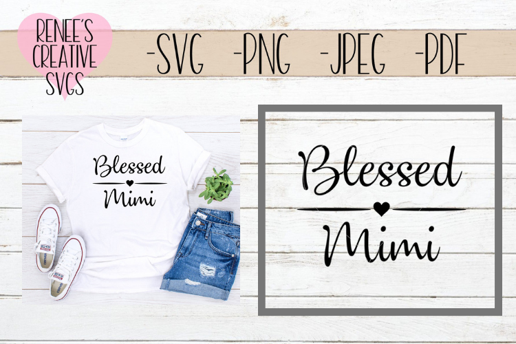 Blessed Mimi | Grandparents | SVG Cutting File example image 1