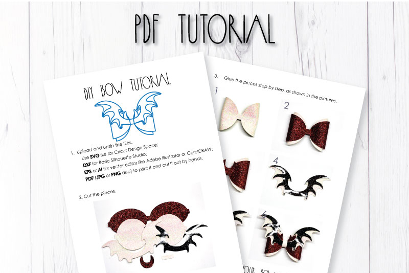 Wings Hair bow template SVG, DIY leather bow template example image 3