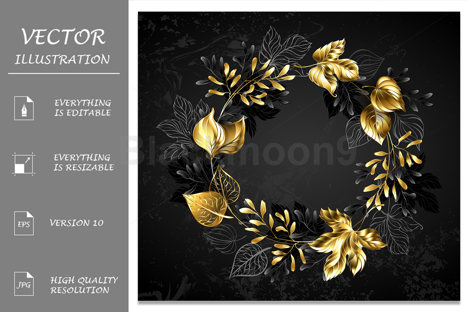 Wreath of Golden Leaves and Branches example image 1