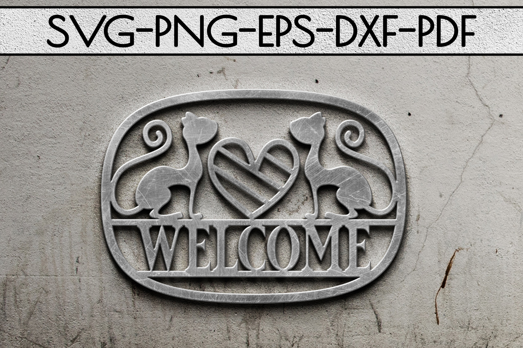 Welcome Cat Sign Papercut Template, Cat House Decor SVG, DXF example image 2