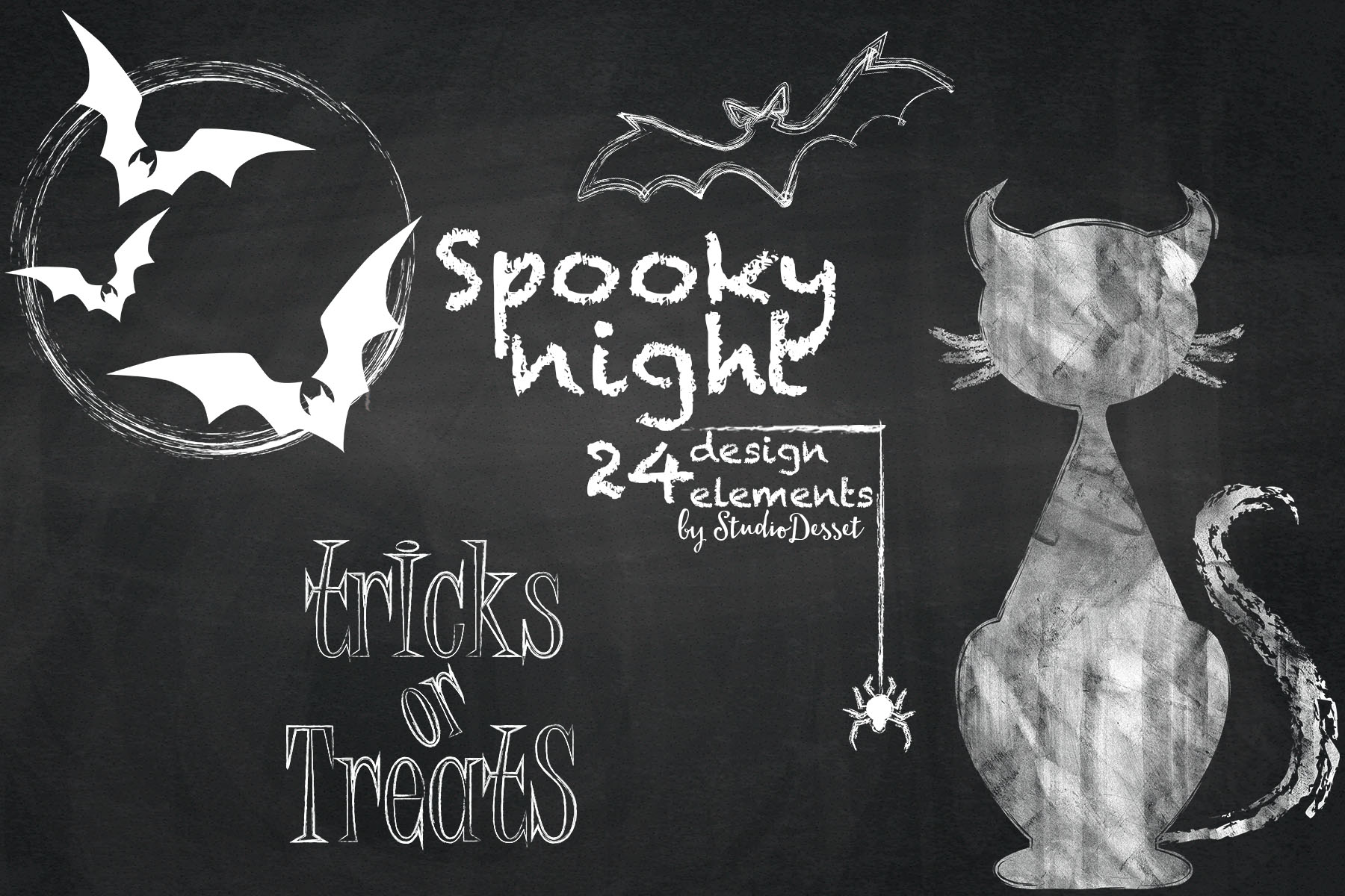 spooky night halloween chalkboard illustrations