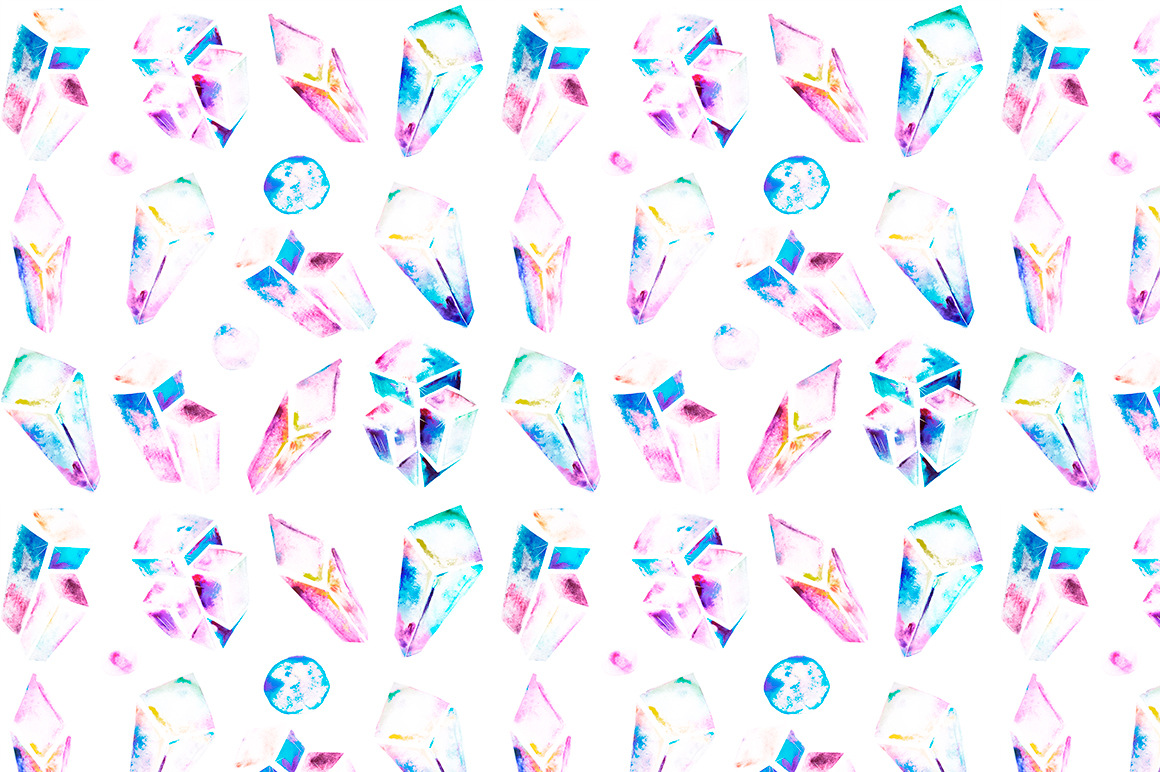 Watercolor crystals patterns example image 4