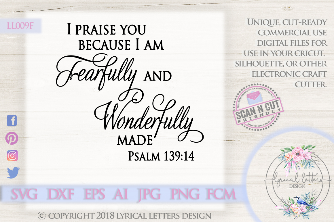 Fearfully and Wonderfully Made Psalm 139 SVG DXF LL009F example image 1