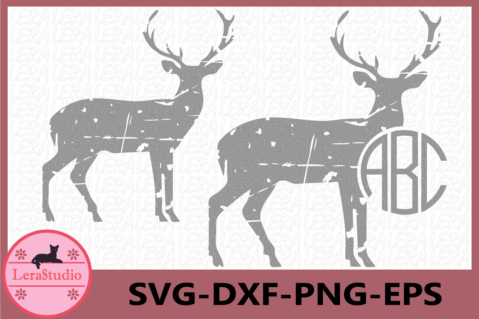Deer Monogram Svg, Deer Distressed SVG Files, Deer Clipart example image 1