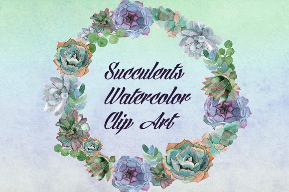 Watercolor Succulents Clip Art example image 1