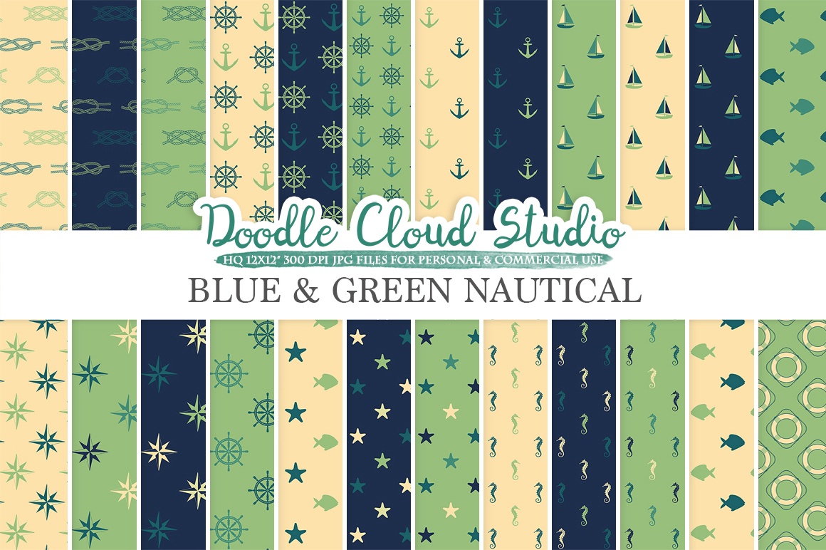 Blue and Green Nautical digital paper, Seal patterns Ocean Steering wheel Sea waves Anchor Cream backgrounds for Personal & Commercial Use example image 1