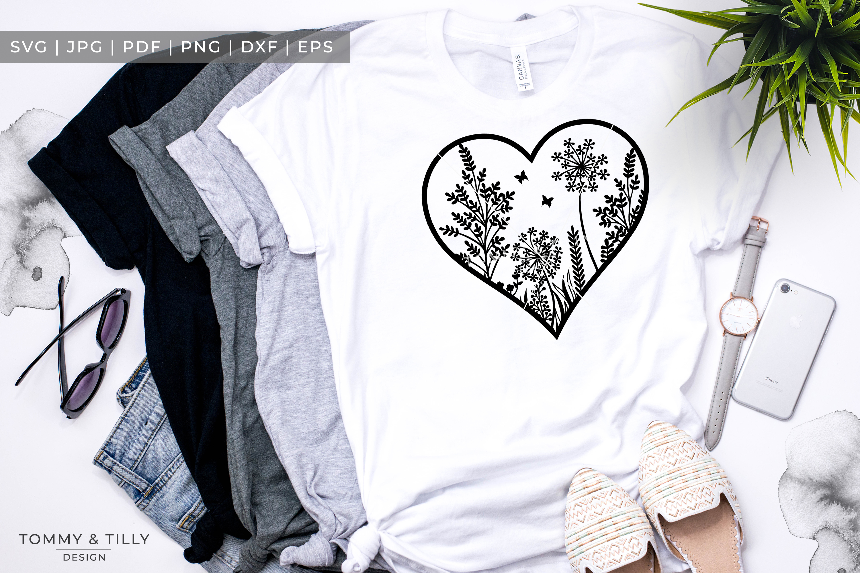 Meadow Heart x 3 - Papercut Template SVG EPS DXF PNG PDF JPG example image 4