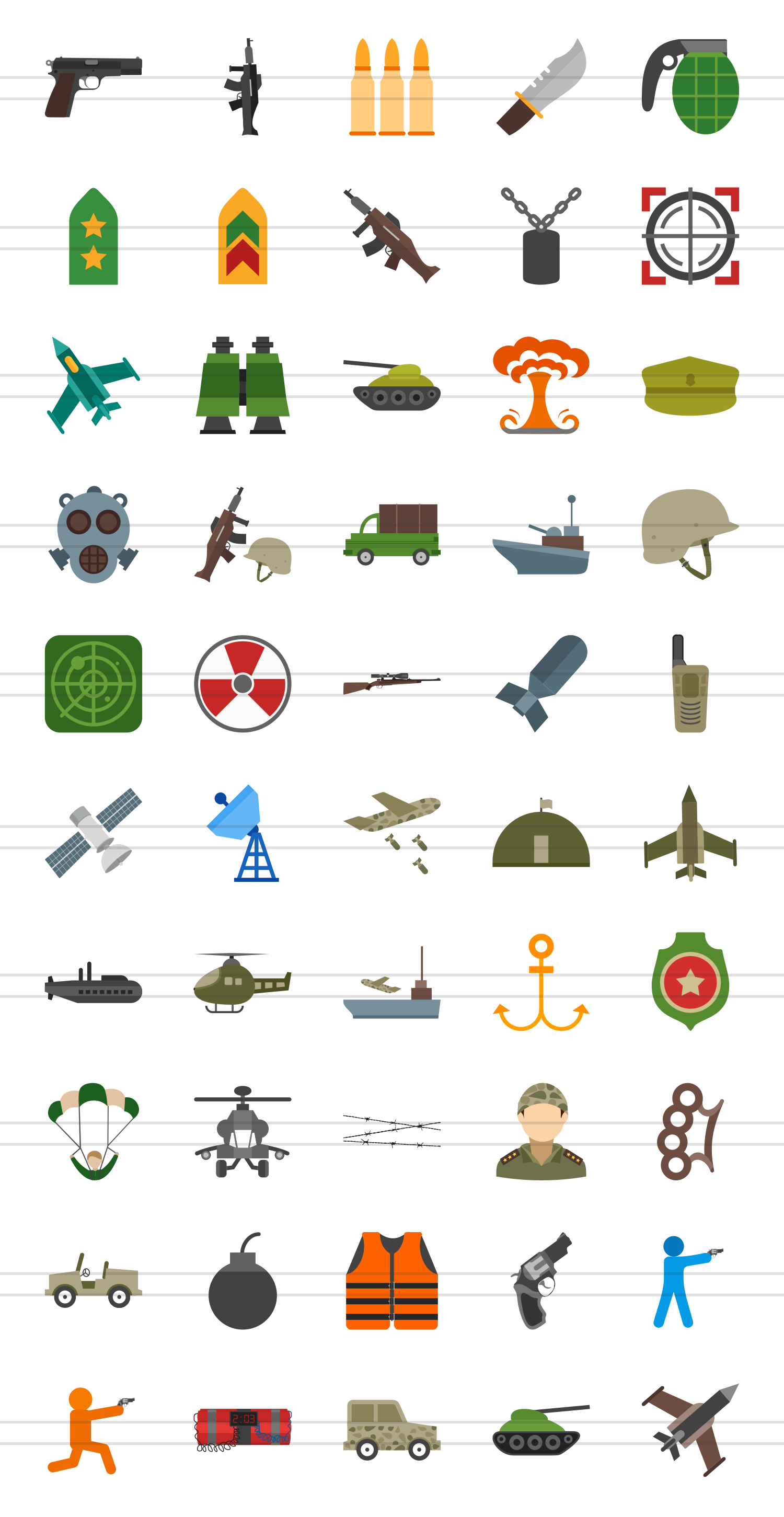 50 Military Flat Multicolor Icons example image 2