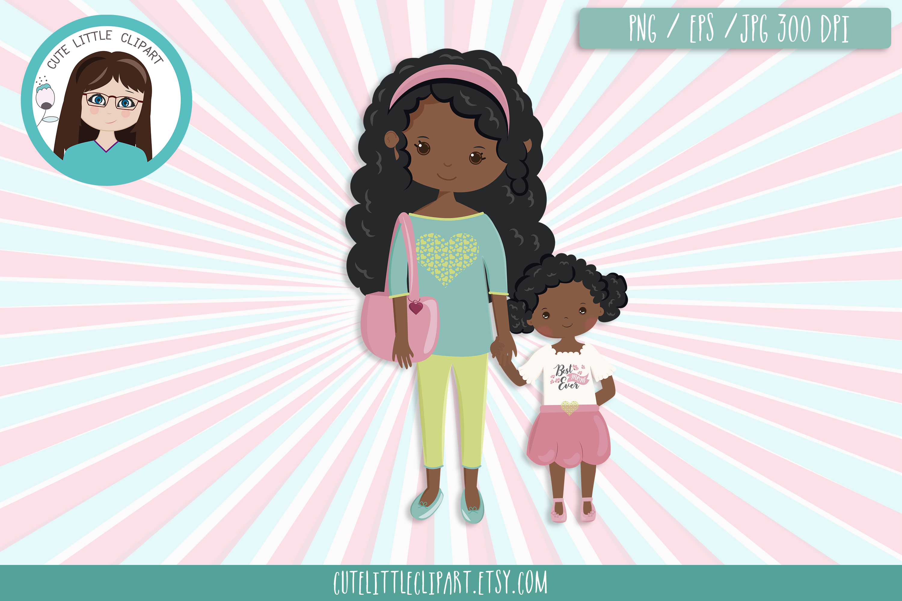 Mom and daughter clipart example image 2