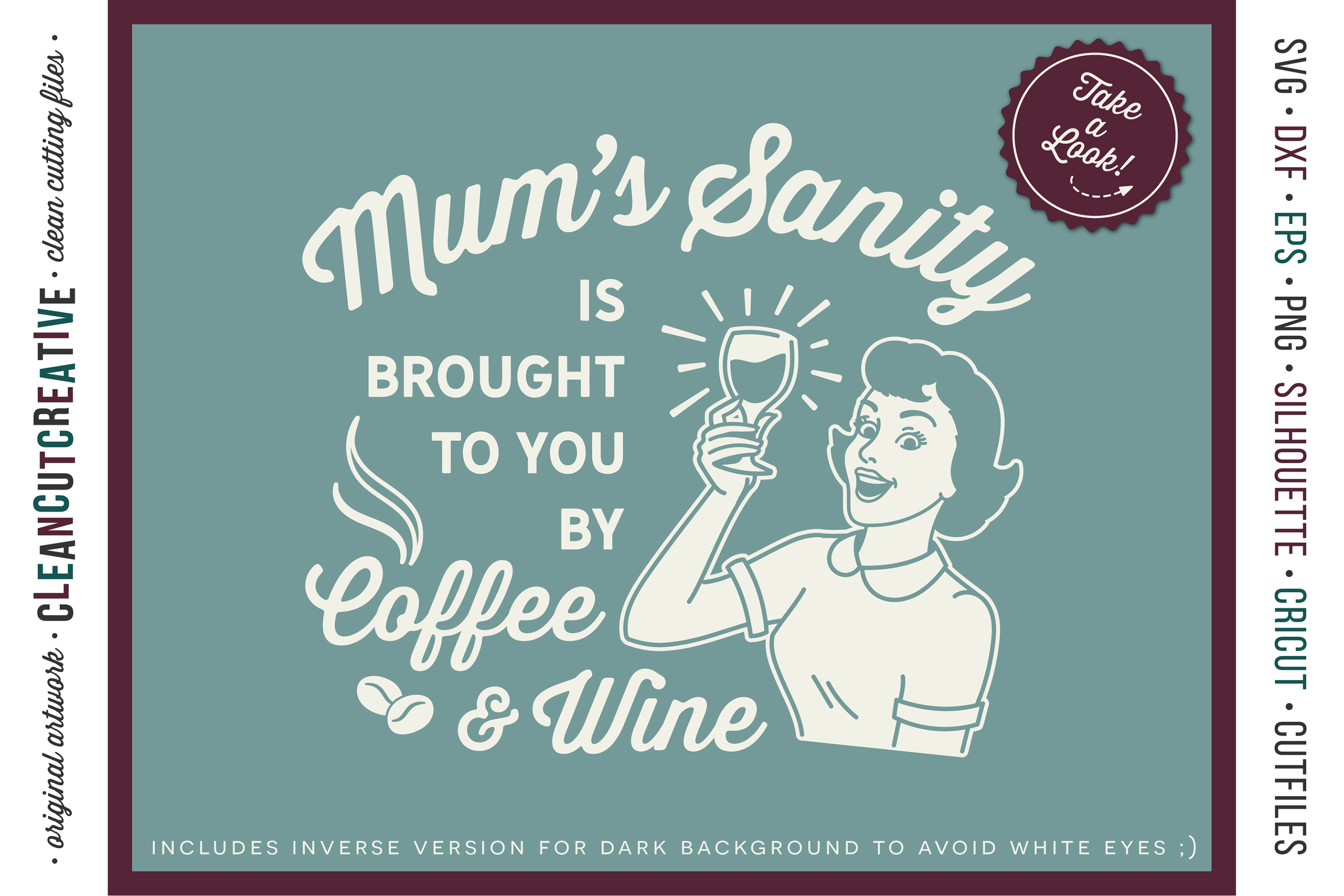Mum funny Coffee and Wine quote retro SVG cut file for craft example image 2