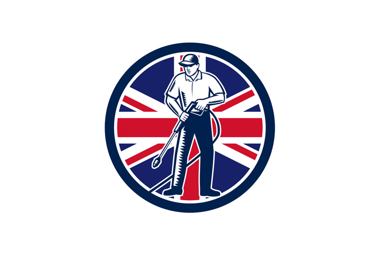 British Pressure Washing Union Jack Flag Circle Retro example image 1