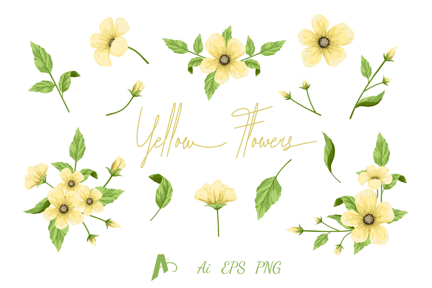 Flowers Clipart, Yellow Flowers Set, Floral Design Elements. example image 1
