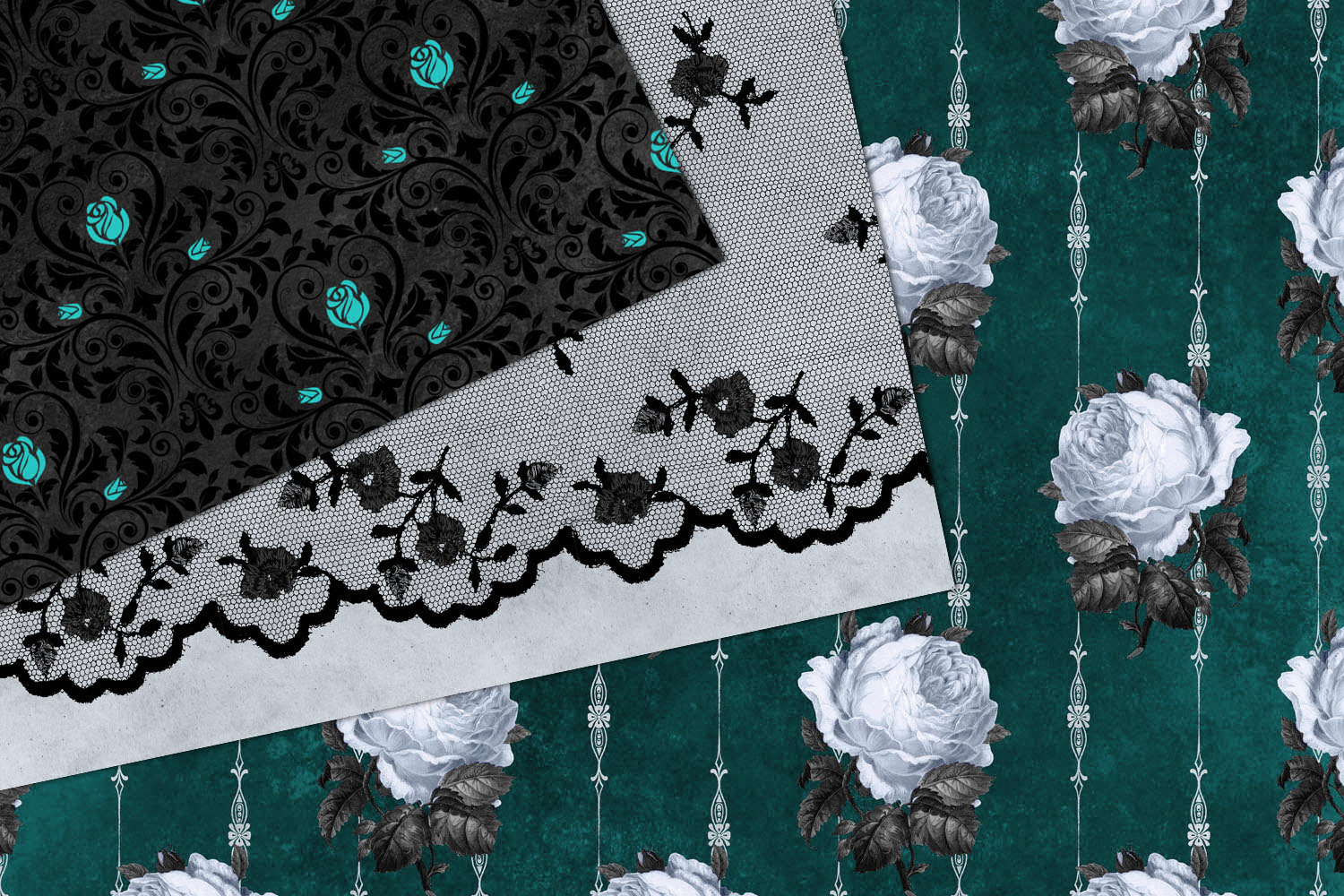 Gothic Teal Rose Digital Paper example image 3