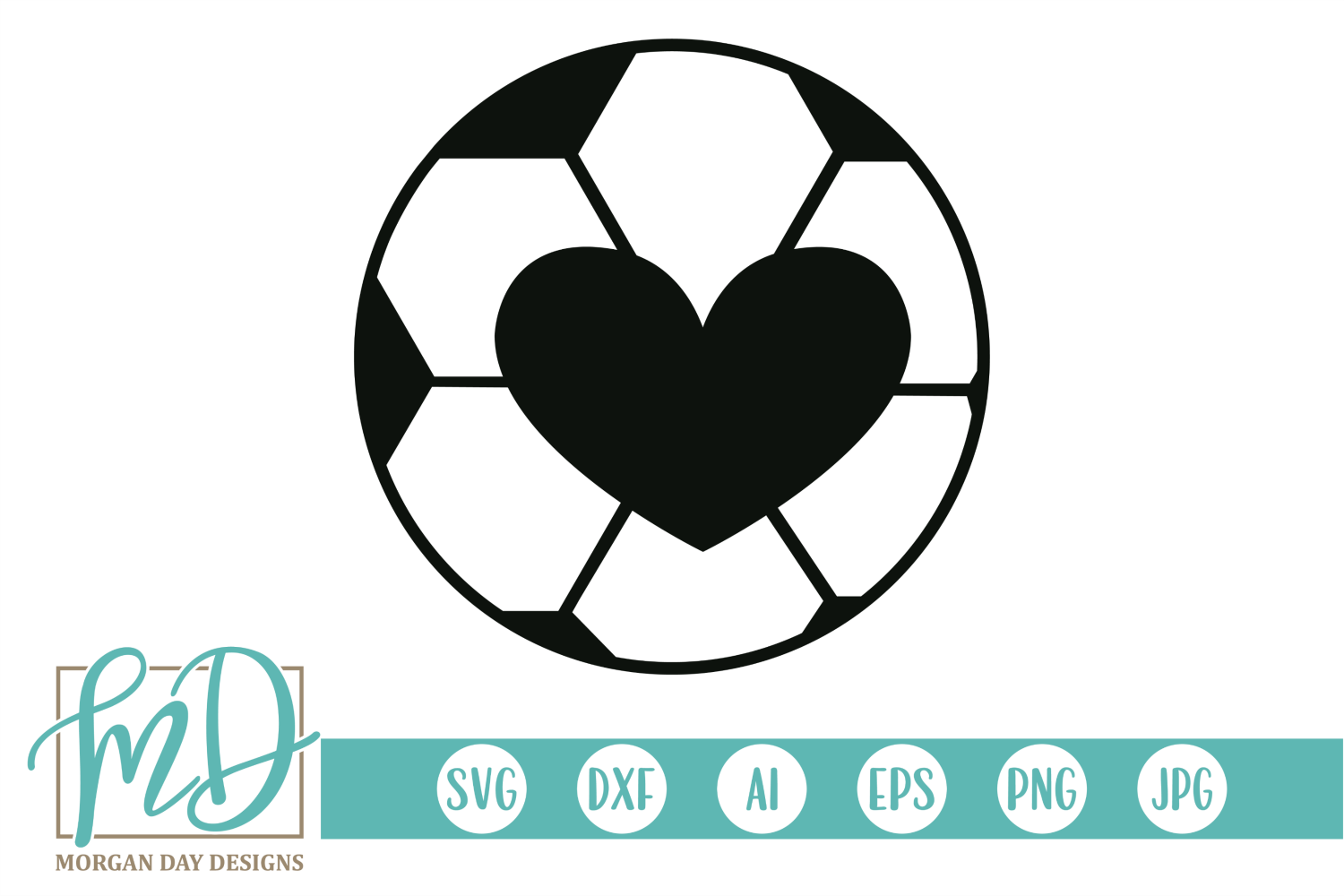 Soccer Ball Heart SVG, DXF, AI, EPS, PNG, JPEG example image 1