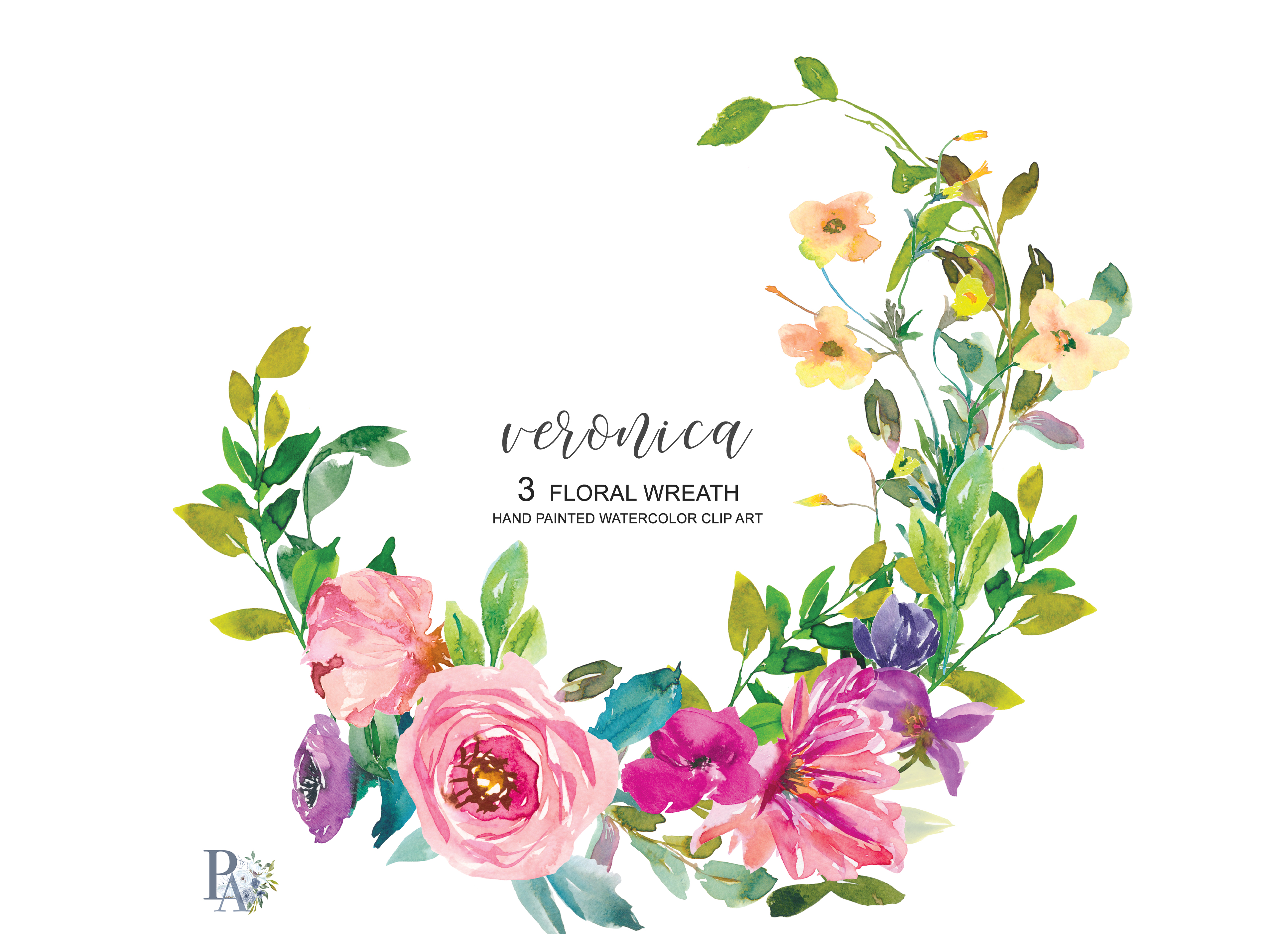 Watercolor Summer Flowers Wreath Set example image 1