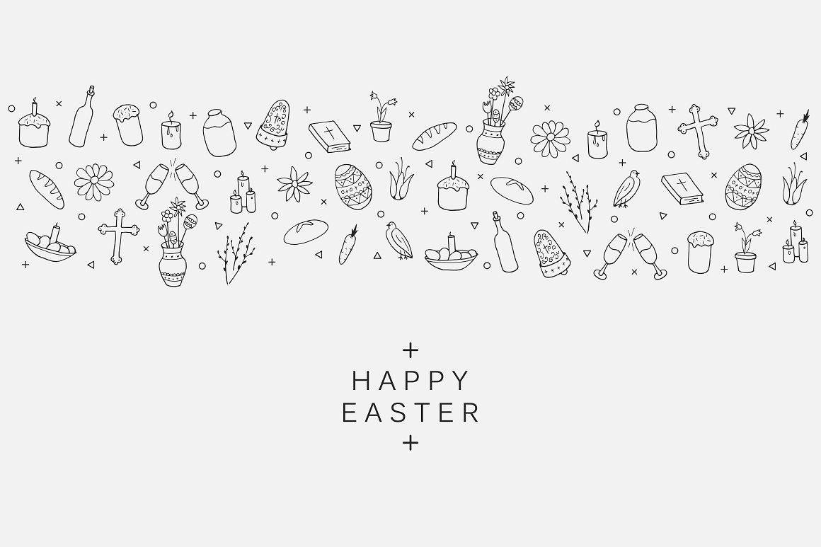 Hand drawn Easter card. example image 3