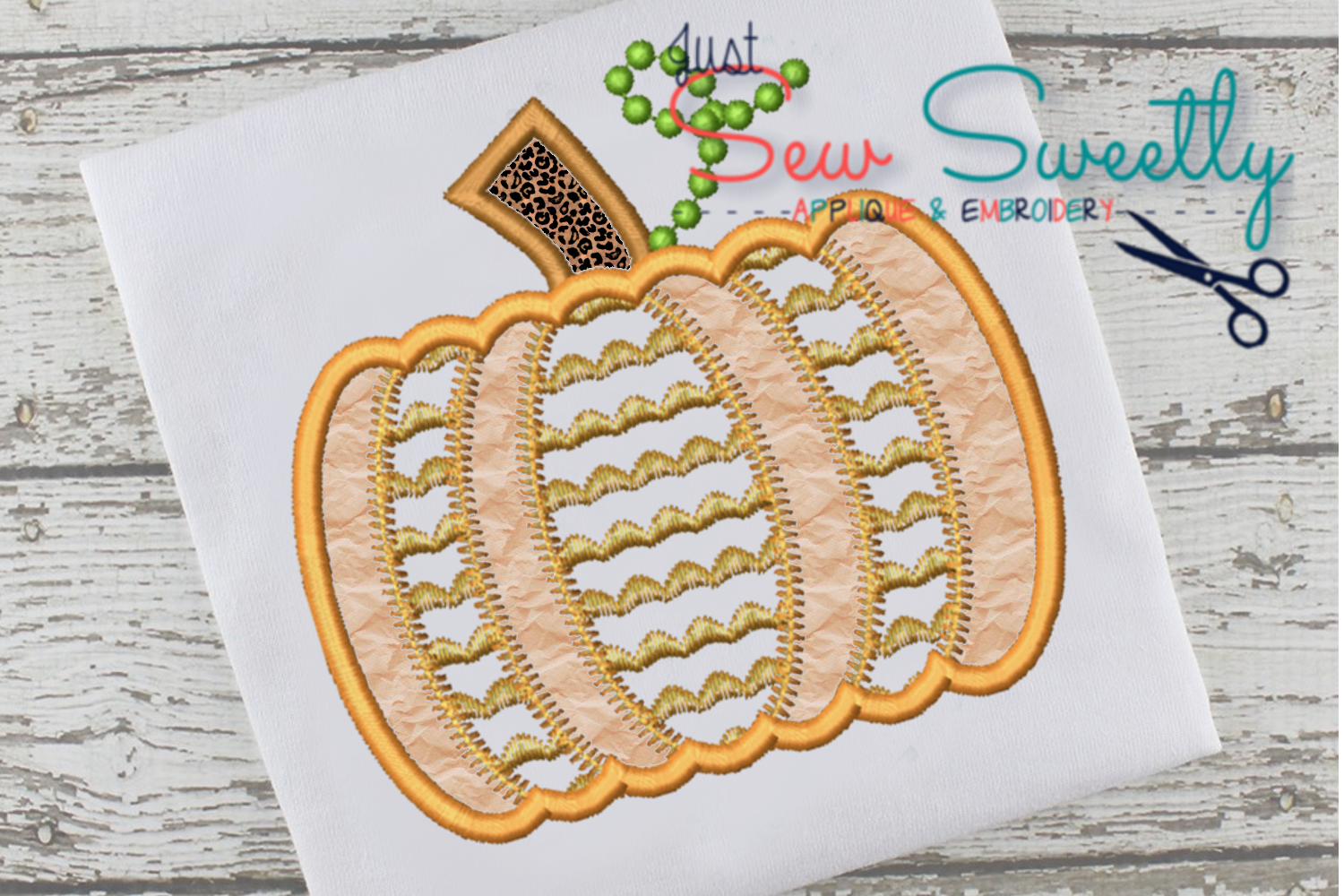 Thanksgiving Pumpkin Waves Sketch Applique Embroidery example image 1