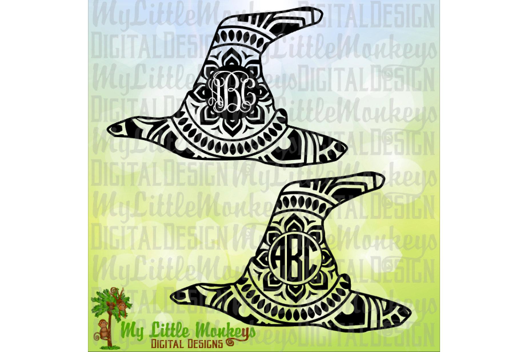 Witch Hat Mandala Monogram Base  example image 1
