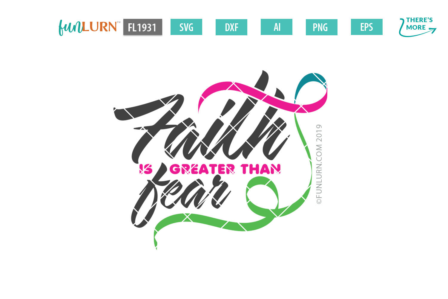 Faith is Greater Than Fear Pink Teal Green Ribbon SVG example image 2