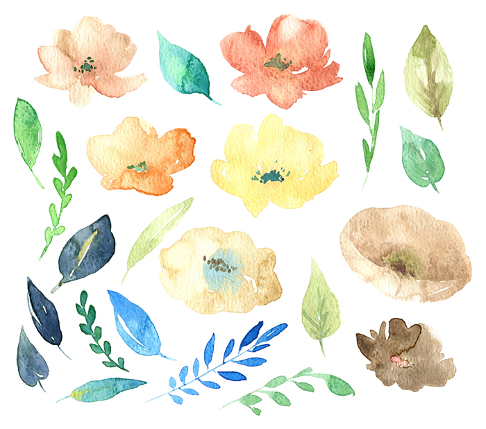 Watercolor hand drawn flowers example image 2