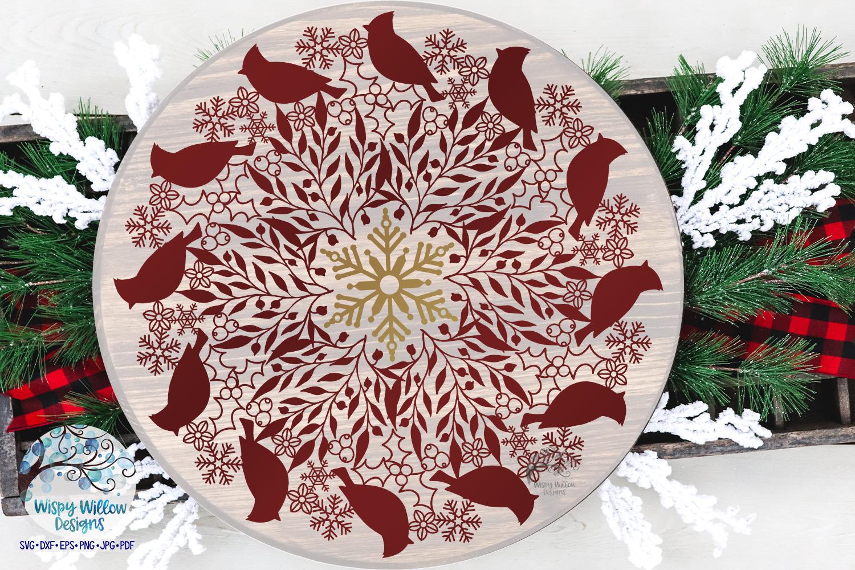 Winter Cardinal Mandala SVG   Christmas Mandala SVG Cut File example image 2