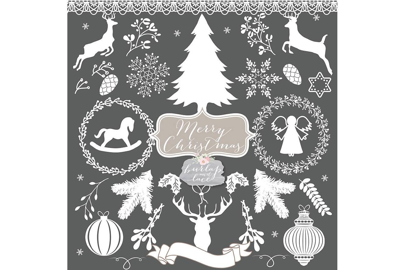 Vector white rustic hristmas Cliparts example image 4