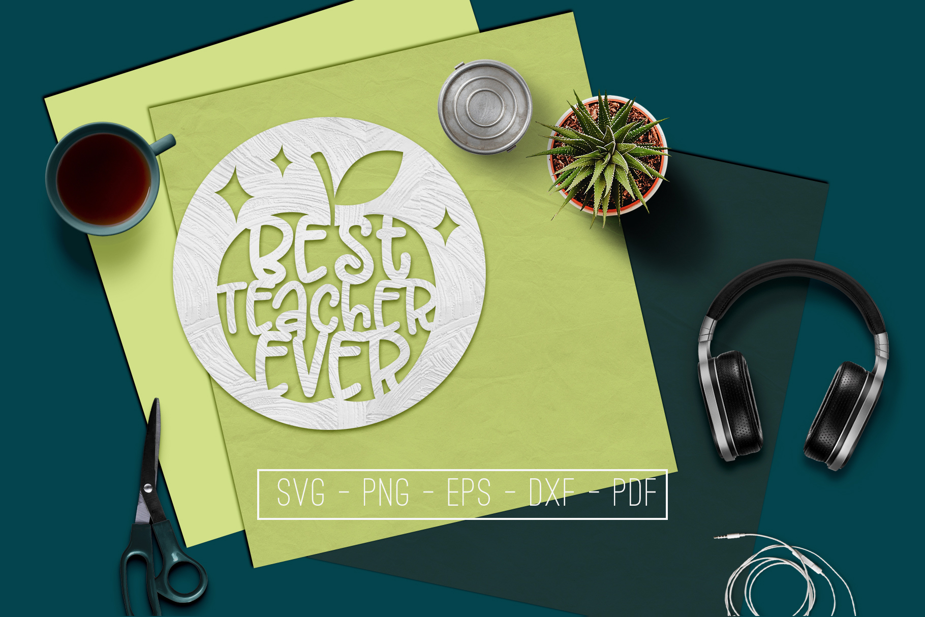Best Teacher Ever Paper Cut Template, School SVG, PDF, DXF example image 1