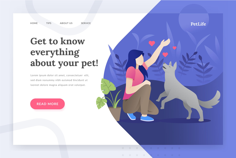 Pet life - landing page illustration example image 1