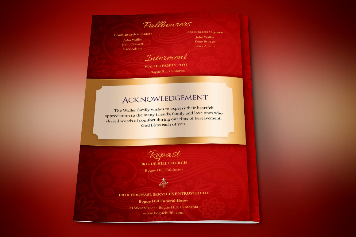 Red Gold Dignity Funeral Program Publisher Template  example image 2