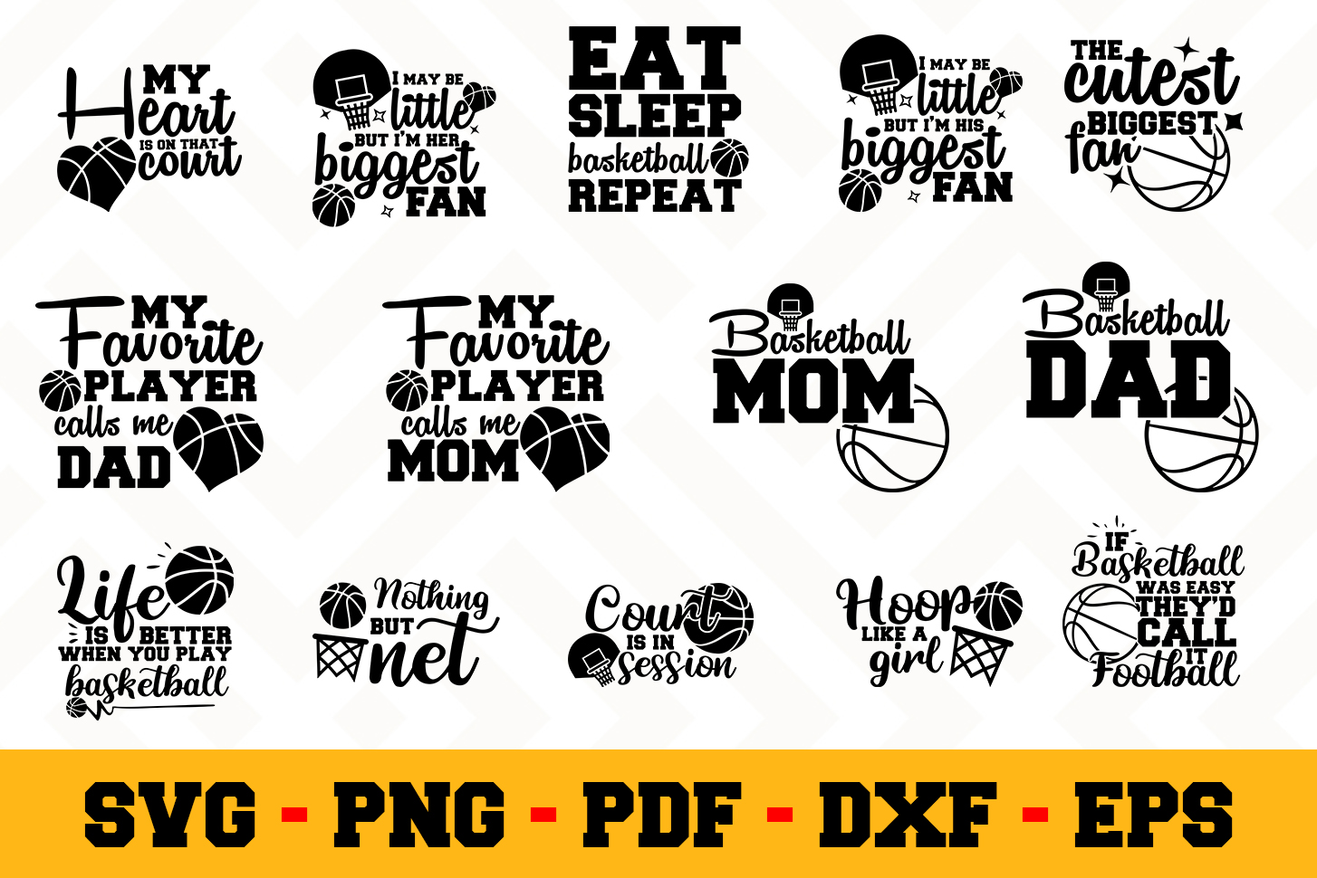 Basketball 14 Designs Pack | Basketball SVG Bundle example image 1