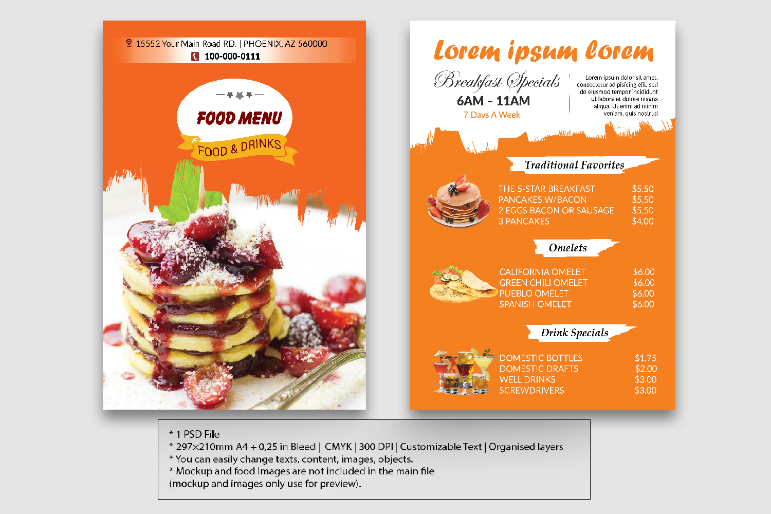 Food Flyer Menu double sided example image 1